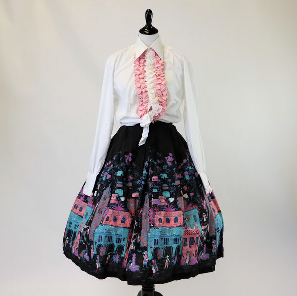 Vintage 1950's Cotton Mexican Printed Circle Skirt