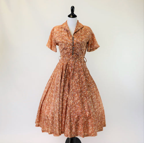 Vintage Abstract Floral Print Fall Earth Toned 1950's Dress with Crystal Buttons