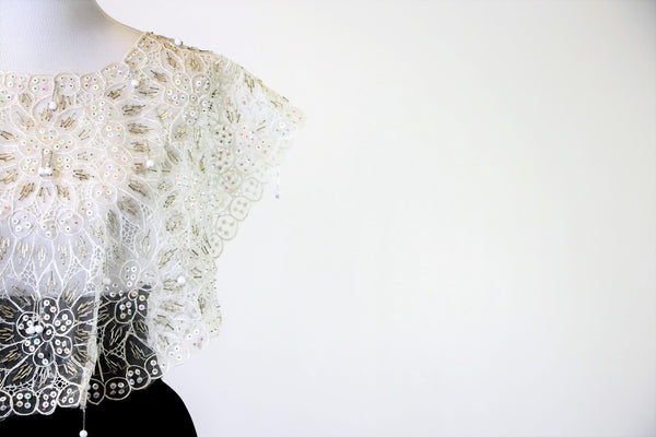 Ornate White Mesh Cape Top with Floral Beaded and Sequin Print with Beaded Fringe