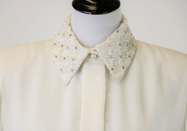 Vintage Jack Bryan Winter White Dress with Beaded/Jeweled Neckline and Cuffs