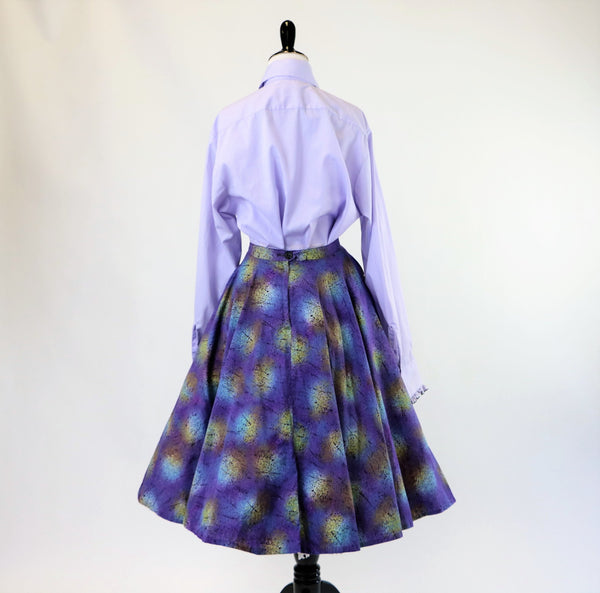 Vintage 1950's Purple Printed Cotton Circle Skirt