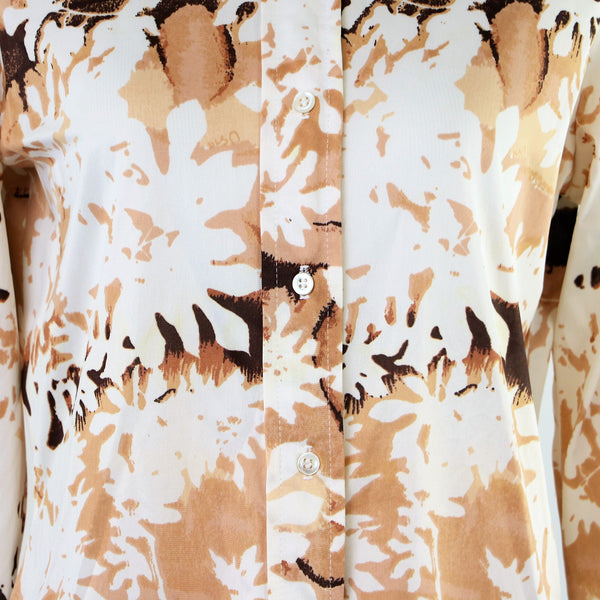 Vintage Neutral Tone VERA Printed Blouse