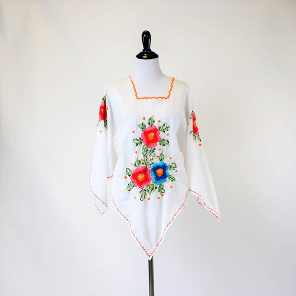 Vintage 60's BoHo Cotton Blouse with Embroidered Flowers and Kimono Scarf Sleeve