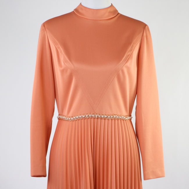 Vintage Salmon Peach Maxi Dress with Pleated Skirt, Long Sleeves and Pearl Detail at Waist
