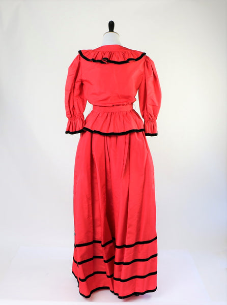 Vintage Albert Capraro Red 2 Piece Skirt and Jacket Set with Black Velvet Trim - Deadstock/With Tags