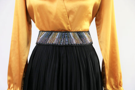 Vintage Late 70's/Early 80's Virginie Paris Micro-Pleated Top Skirt and Belt Set