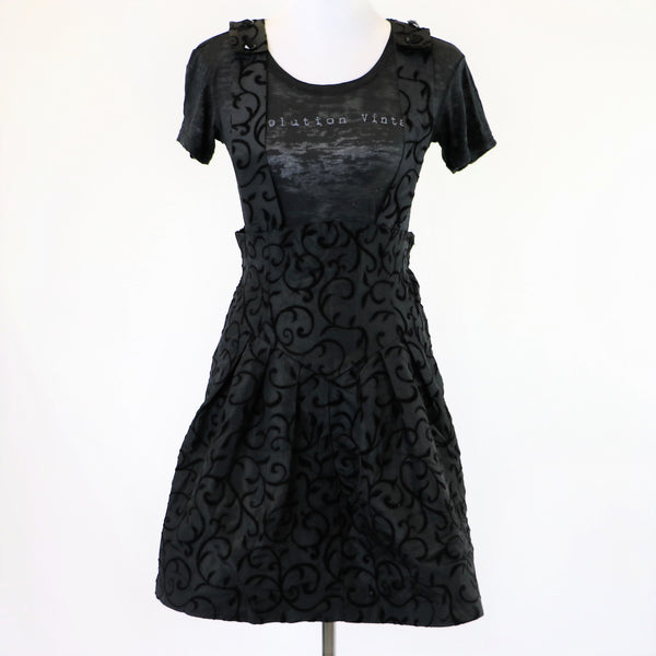 Vintage 1980's Black Romper with Black Flocked Floral Print