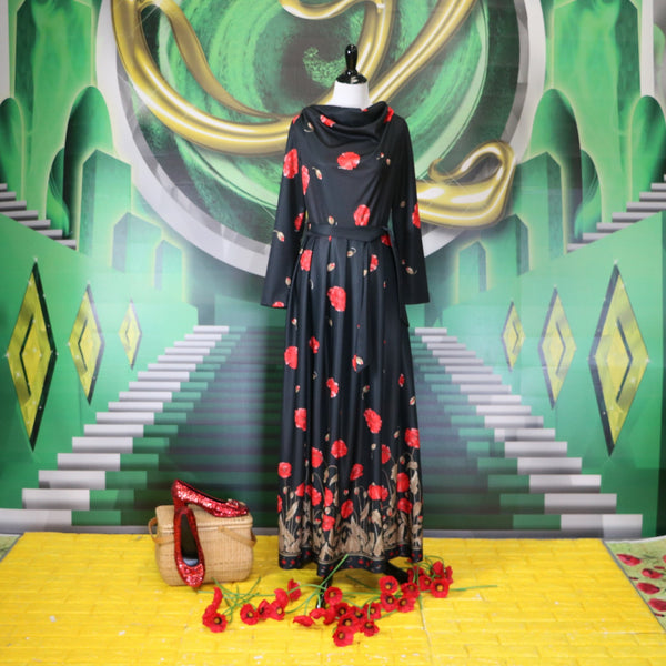 Vintage Black Poppy Print Maxi Dress With Matching Fabric Belt