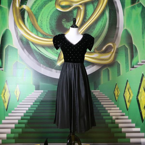 Wicked: Vintage 1950's Black Fit and Flare Dress with Velvet Rhinestone Bodice
