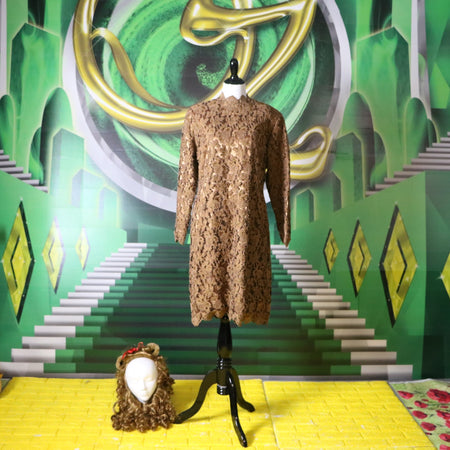 Emerald City: Vintage Green and Silver Metallic Tunic