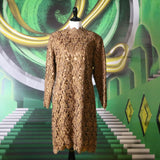 Lioness: Vintage Brown Lace and Mesh Long Sleeve Lace Cocktail Dress