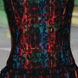 Over The Rainbow: Vintage 1980's Multi-Colored Rainbow Plaid Dress with Black Lace Overlay