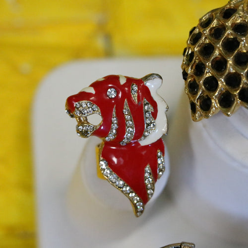 Vintage REWIND Red Enamel Tiger Cocktail Statement Ring with Pave Set Crystals