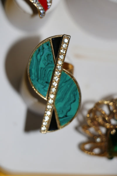 Vintage REWIND Jeweled S Cocktail Statement Ring with Faux Malachite, Crystals and Adjustable Band