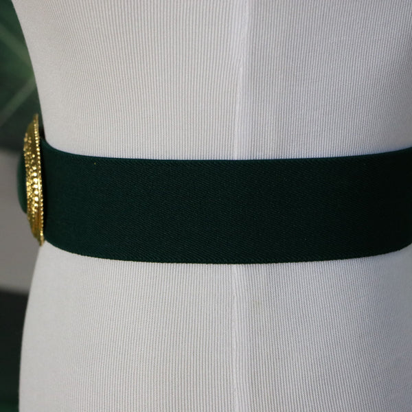 Emerald City: Vintage Green Stretch Belt with Gold Tone Oval Buckle