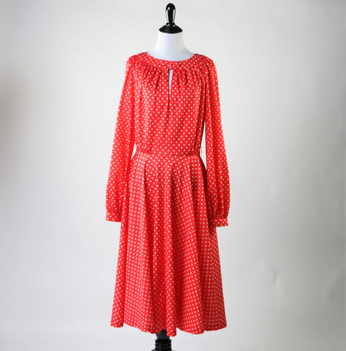 Vintage 70's Red and White Polka Dot Dress with Keyhole Cut Out