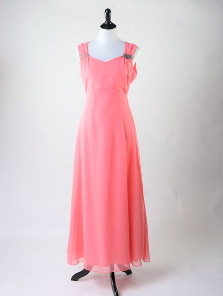 Vintage 1960's Pink Floral Metallic Dress with Front Bow Detail