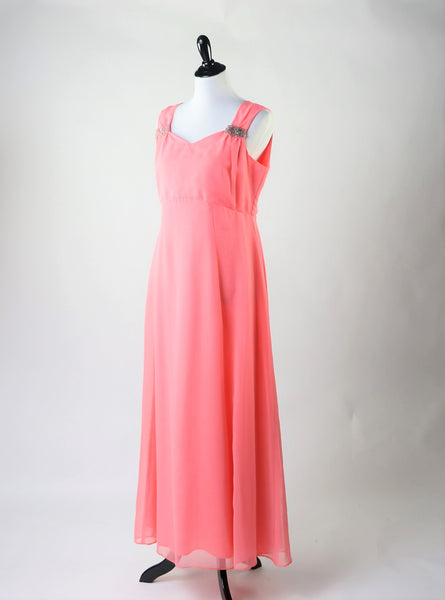 Vintage 1960's Coral Salmon Chiffon Evening Dress with Beaded Details