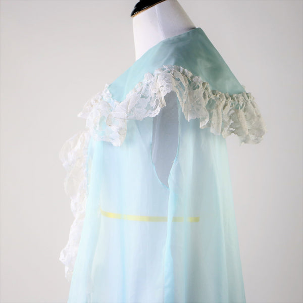 Vintage Baby Blue Sheer and Lace Cape With Dramatic Collar