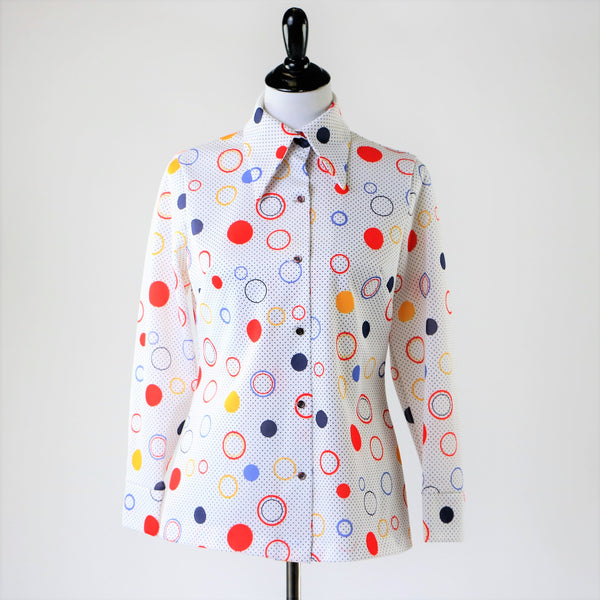 Vintage Geometric Circle Print Polka Dot Button Up Oxford Blouse Top in Primary Colors