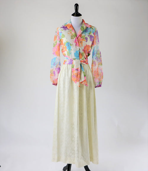 Vintage Pastel Floral Hostess Gown Maxi Dress With Long Sheer Sleeves, Textured Skirt and Faux Pearl Buttons Matching Fabric Belt Turban