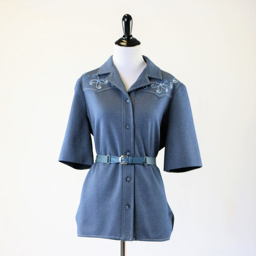 Vintage Plus Size Denim Style Embroidered Top with Matching Belt