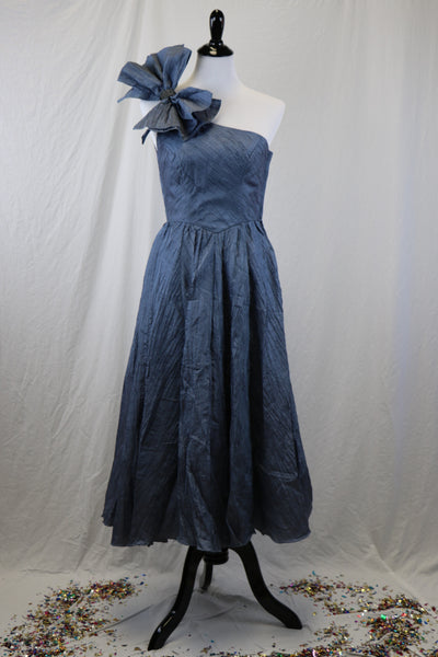 Vintage 1980's Denim Blue One Shoulder Grecian Style Party Dress with Bow