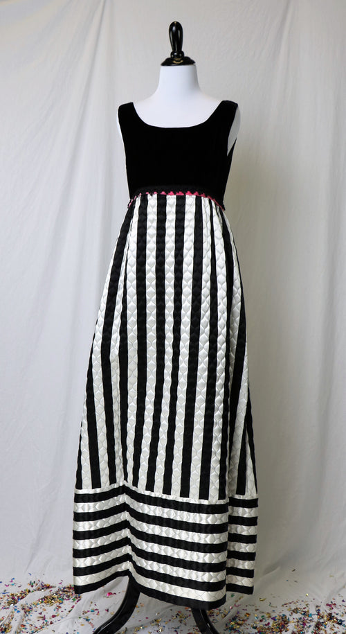 Vintage 1960's Black and White Velvet Quilted Evening Gown
