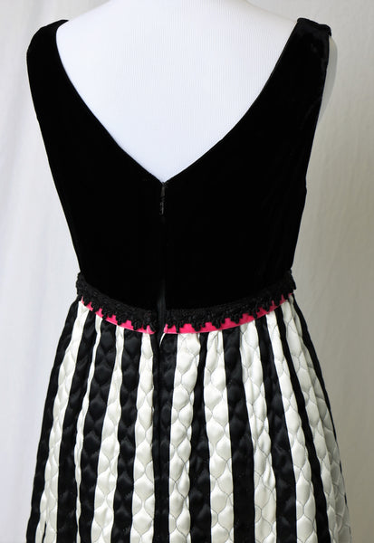 0bc99c9a24f ... Vintage 1960 s Black and White Velvet Quilted Evening Gown ...