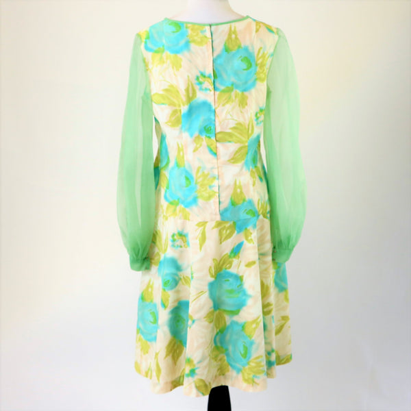 Vintage 1960's Pastel Floral Printed Drop Waist Dress With Chiffon Sleeves