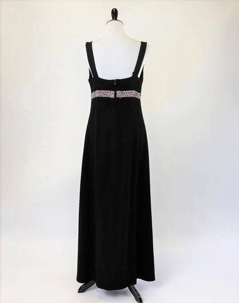 Vintage Black Evening Gown With Metallic Waistband HARDOB Euro 42