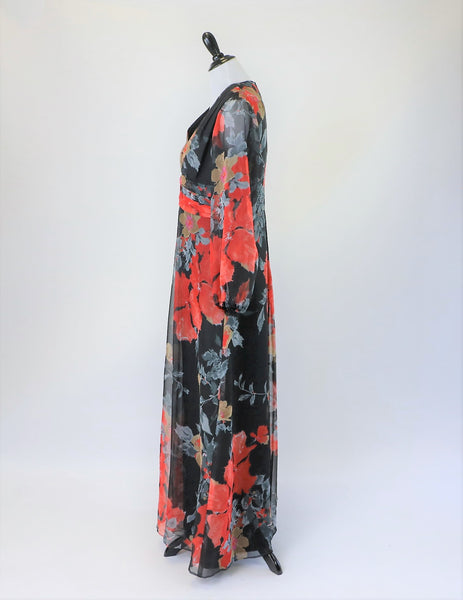 Vintage 1970's Floral Printed Chiffon Maxi Dress