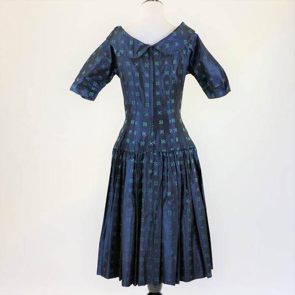 1950's Navy Blue Day Dress With Purple and Green Geometric Print