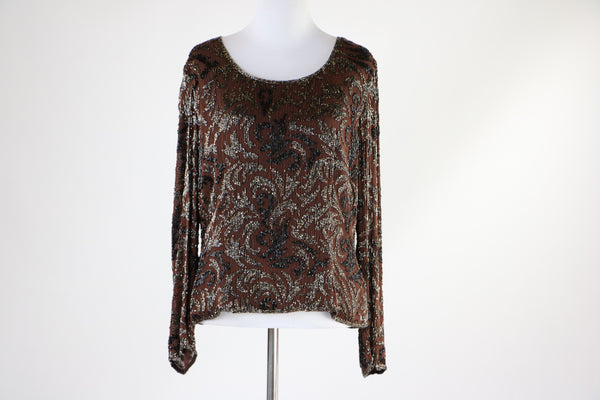 Vintage 1980's Frank Usher Chocolate Brown Silk Top With Black Iridescent Bugle Beading Embellishment