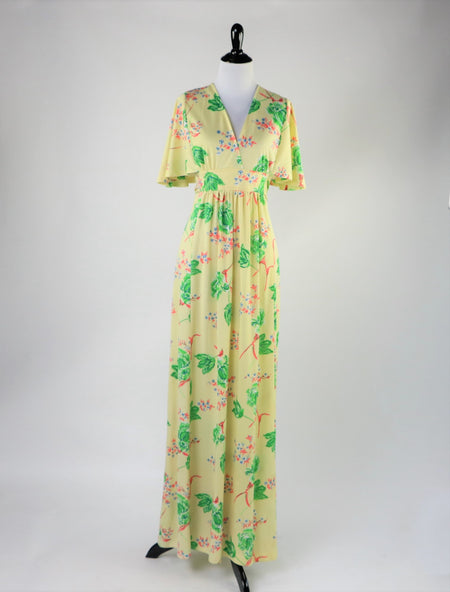 Vintage 1960's Olive Green Floral Brocade Sheath Dress with Matching Belt