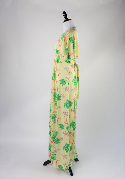 Vintage 1970's Butter Yellow Maxi Dress with Floral Print and Short Bat Wing Sleeves