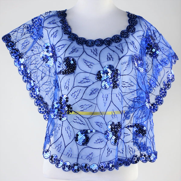 Cobalt Blue Mesh Caped Floral Print Top with Sequins And Beading - One Size