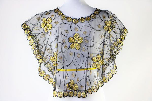 Black Mesh Cape Top with Gold Sequin and Beaded Floral Print - One Size