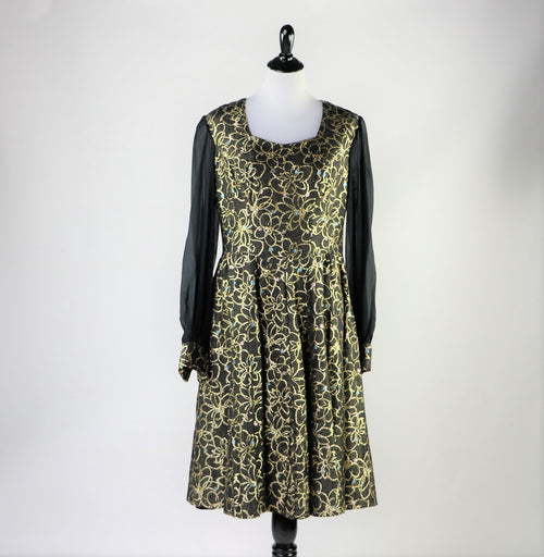 Vintage 1960's Black and Metallic Gold Floral Printed Dress With Chiffon Long Sleeves
