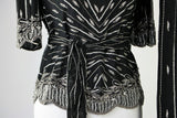 Vintage 1980's  Black and Silver Sequin Beaded Top and Skirt Judith Ann Creations