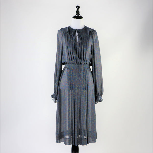 Vintage 1970's/80's Grey/Blue Printed Sheer Secretary Dress with Necktie, Keyhole Cut Out and Pleats