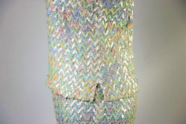 Vintage 1960's White 2 Piece Aurora Borealis Chevron Patterned Sequin Skirt and Top Set XS/S