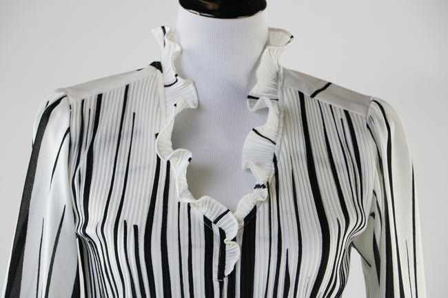 Vintage 70's/80's Black and White Pleated and Striped Blouse with Ruffle Neck and Cuffs