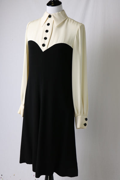 Vintage 1969 MOD Geoffrey Beene Black and Winter White Long Sleeve MOD Shirt Dress
