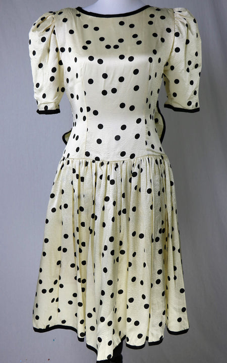 Vintage 1950's Nude Illusion Lace Fit/Flare Dress with Rhinestones, Lace Appliques and One Over Sized Pocket
