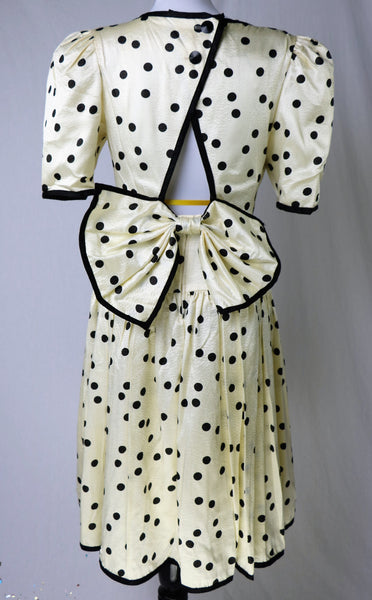 Vintage Champagne Colored Polka Dot Dress With Detachable Back Bow and Triangle Back Cut Out