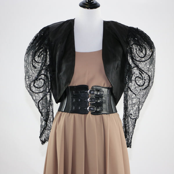 Vintage 1980's Black Bolero with Lace and Sequin Sleeves.