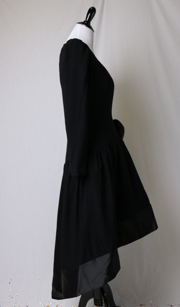 Vintage 1980's Morton Myles Mullet Hem Black Long Sleeved Evening Dress