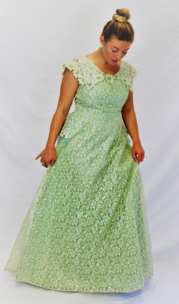 Vintage Mint Green Lace Gown With Tulle Back Peplum and Sequin Details