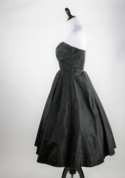 Vintage 1950's Black Taffeta Strapless Dress with Nude Illusion Lace Bodice Accent